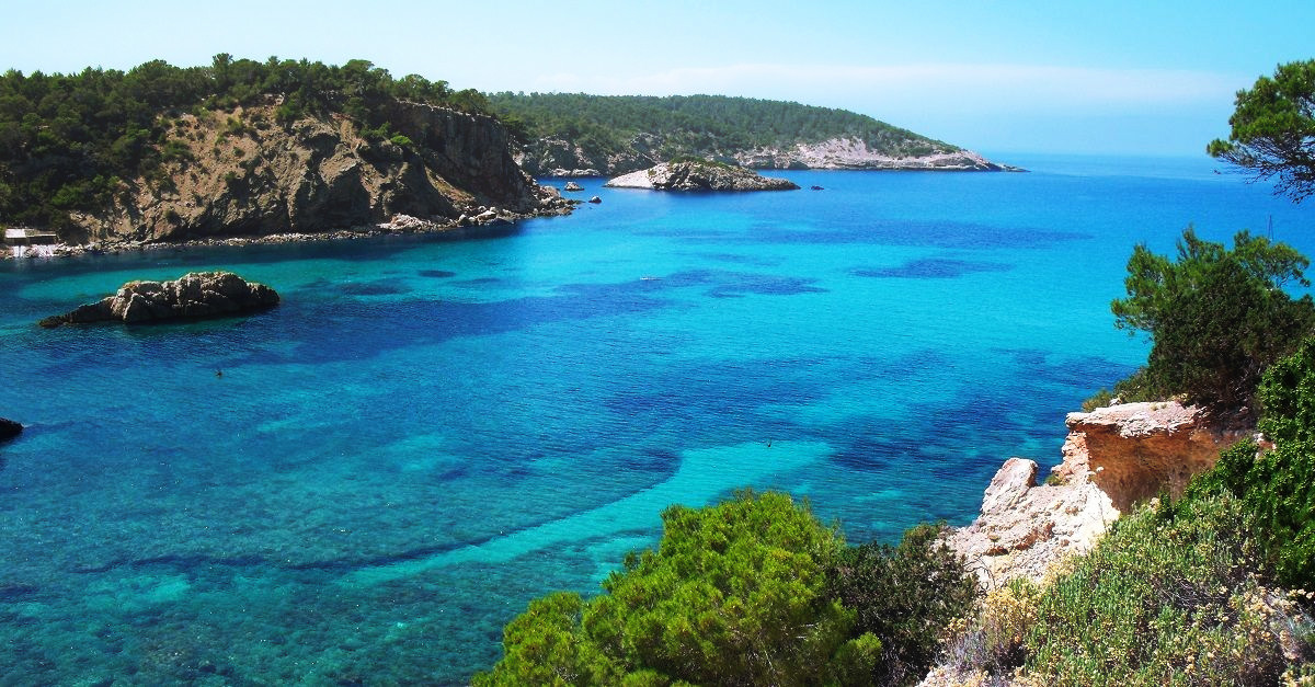 Crystal clear waters of Ibiza, Balearic Islands, Spain
