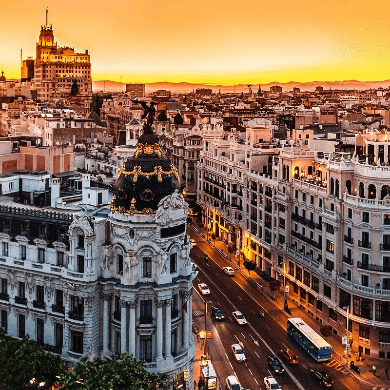 Gran Via at sunset in Madrid, Spain