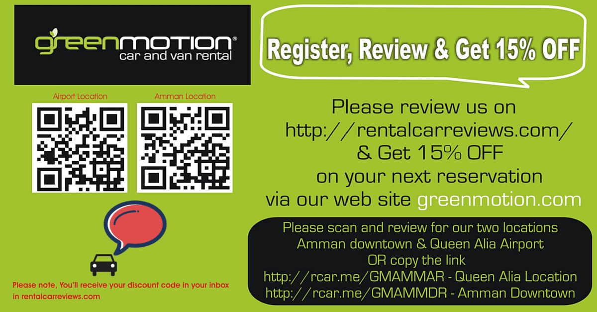 15% Discount Offered by Green Motion Car Rental in Jordan For Reviews